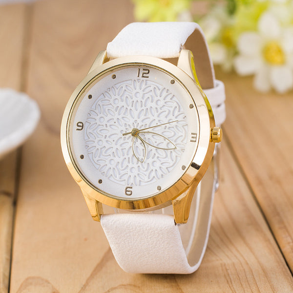 Fashion Lady Hollow Flower Dial PU Band Leisure Watch