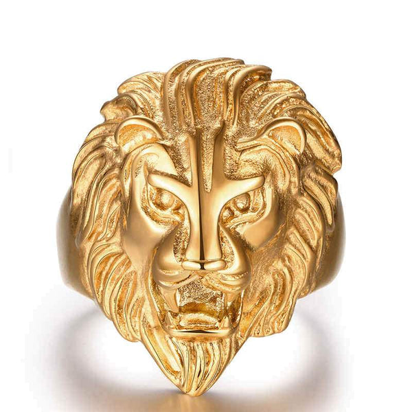 Gold Color Stainless Steel Ring Lion Face Shape Power Men's Ring