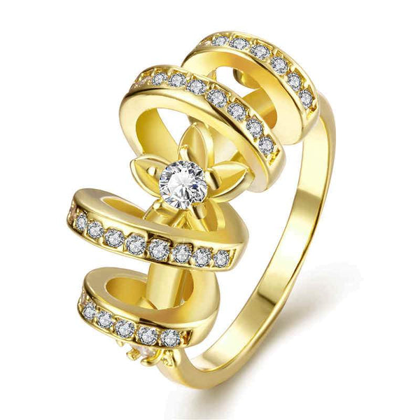 Luxurty Gold Plated Metal Multilayer Round Cubic Zirconia  Wedding Ring