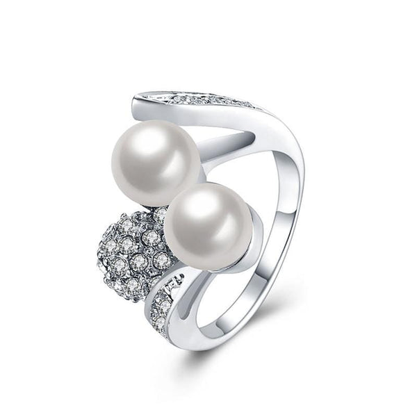 Platinum Plated Jewelry Imitation Pearl Crystal Ring