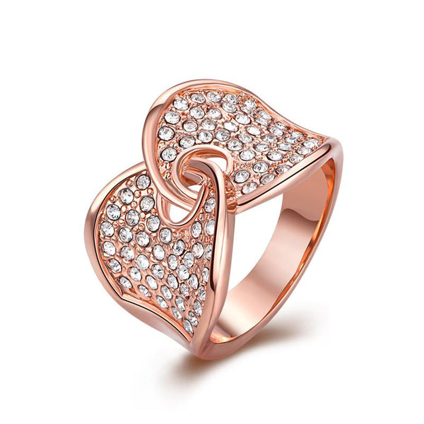 New Design Jewelry Graceful Two Sides Rose Gold Color Alloy Ring