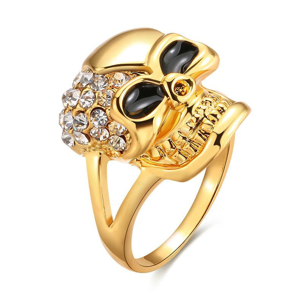 Gold Plated Jewelry Punk Style Skeleton Shape Rhinestone Men's Ring