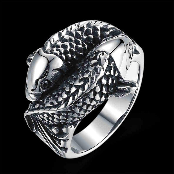 Men Party Punk Style Carp Shape Stainless Steel Ring