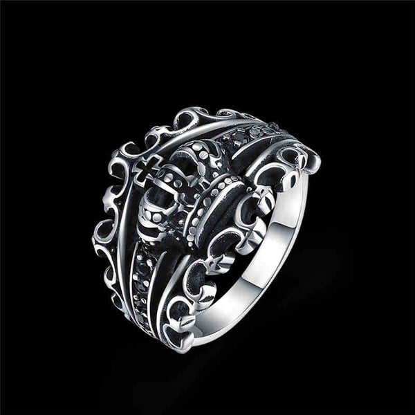 Men Party Trendy King Crown Shape Stainless Steel Ring