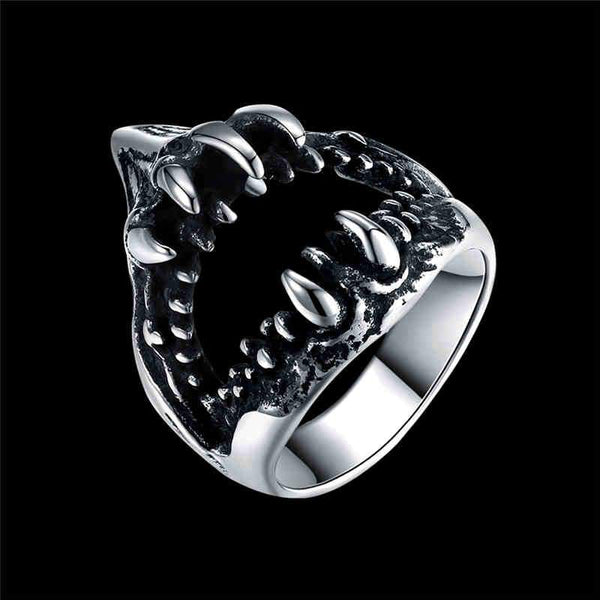 Men Cool Party Shark Mouth Shape Stainless Steel Ring