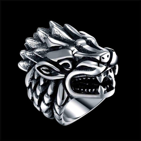 Men Punk Cool Wolf Head Shape Stainless Steel Ring