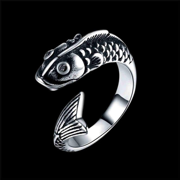 Men Unique Punk Style Fish Shape Stainless Steel Ring
