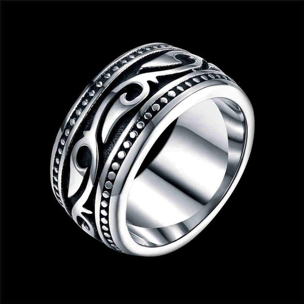 Man Simple Vintage Vine Pattern Engraving Circle Stainless Steel Ring