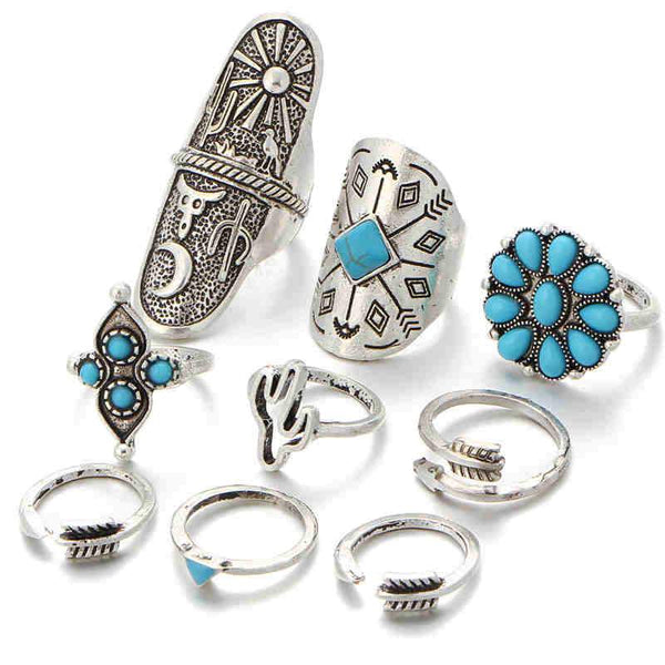 Lady Vintage Bohemian Style Turquoise Decoration Arrow Shield Shape Rings Set