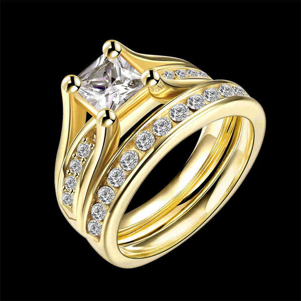 Hot Sell Fashion Prong Setting Zircon Steel 2pcs Rings