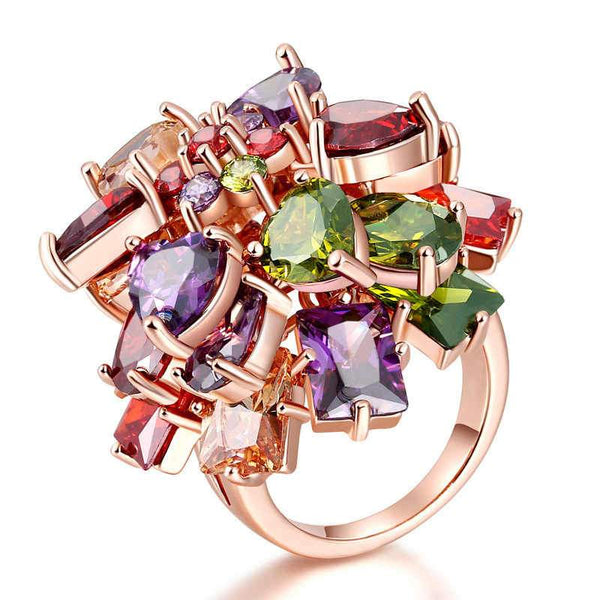 Luxurious Style Fashion Jewelry Prong Setting Multicolor Zircon Brass Lady Ring