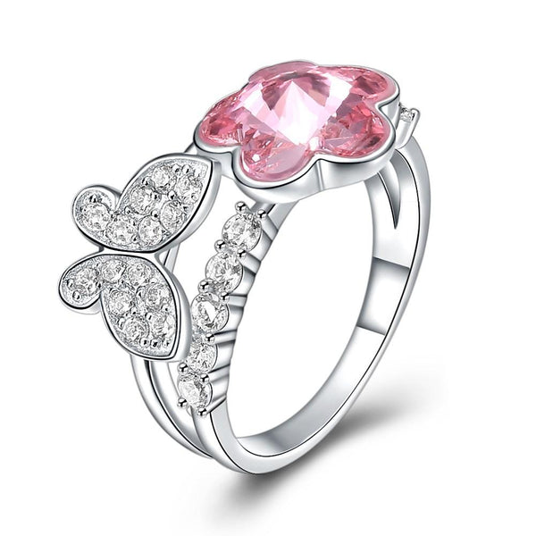 Luxury Unique Design Flower And Butterfly Shape S925 Silver Zircon Crystal Swarovski Element Ring
