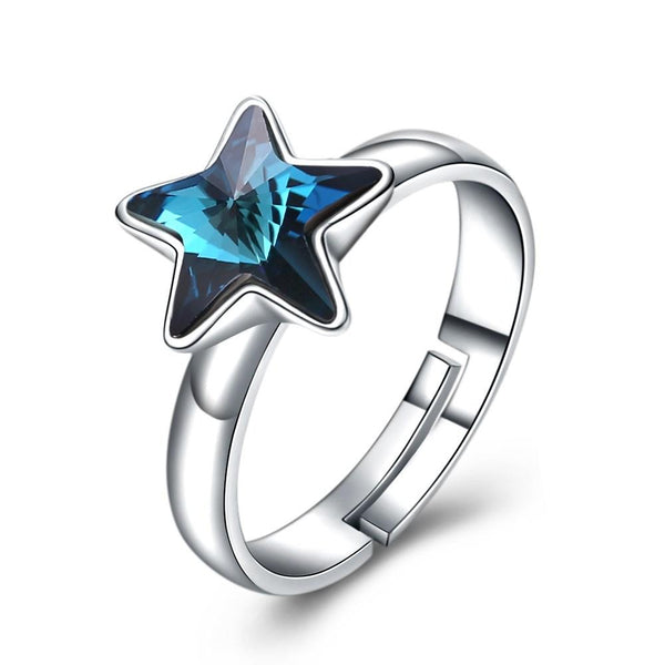 Fashion Style Luxury Top Grade Shiny Blue Star S925 Silver Crystal Women Party Ring