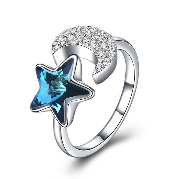 New Design High Quality Moon And Star Shape S925 Silver Blue Zircon Crystal Party Ring