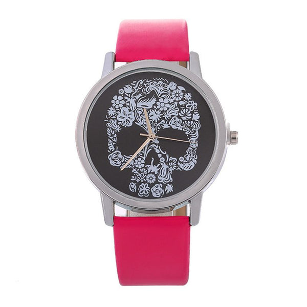 Latest Design Personality Simple Fashion Floral Skull Pattern Ladies Sport Quartz Watches