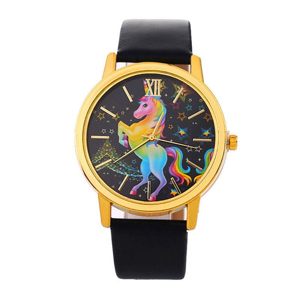 Hot Selling Flying Happy Lucky Unicorn Stars Pattern Black Dial Ladies Quartz Wrist Watches