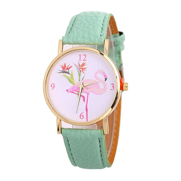 Lovely Fashion Round White Dial  Flamingo Pattern Fresh Color PU Leather Strap Wrist Watches