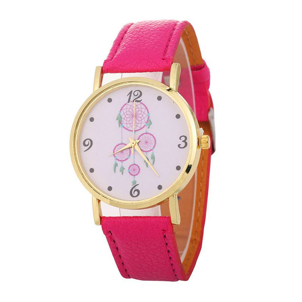 Hot Sale Simple Fashion Freshing Round Dial Dreamcatcher Pattern Wrist Watches For Ladies