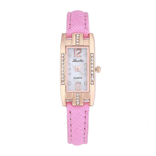 Fashionable Simple Rhinestone Rectangle Dial Thin Belt Buckle Dress Quartz Watch For Women