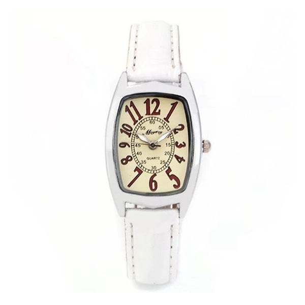 Fashion Barrel Shaped Dial Thin Leather Band Buckle Dress Wrist Quartz Watches