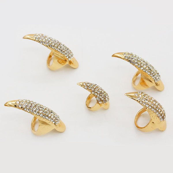 5pcs/set Men And Women Holloween Horrible Party Accessory Rhinestone Alloy Rings