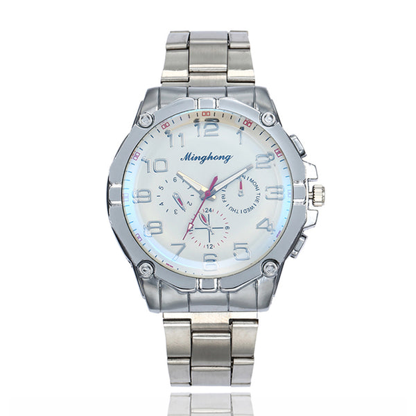 New Arrival Men Fashion Silver Plated Steel Band Watch