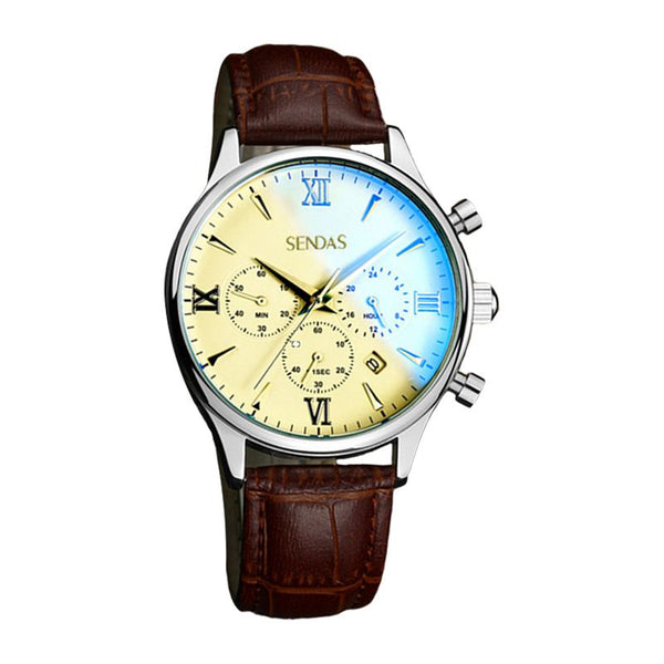 Men Fashion Multifunctional Waterproof Business Classic Leather Watch