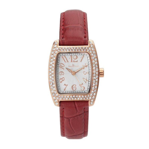 Women  Fashion Geometric Square Shape Dial Plate Leather Band Watch