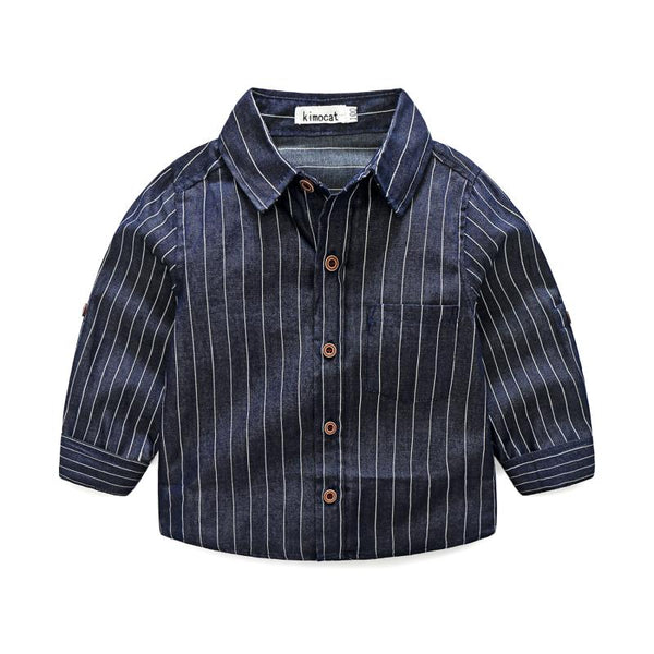 Boys Cotton Stripes Printed Casual Shirts