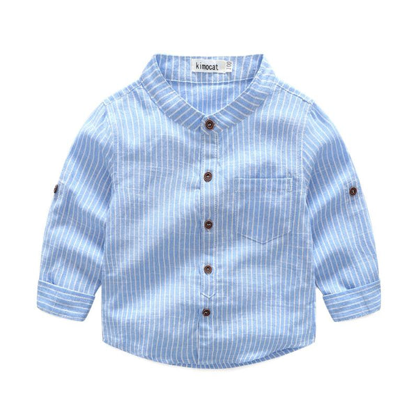Boys Cotton Stripes Printed Standing Collar Shirts