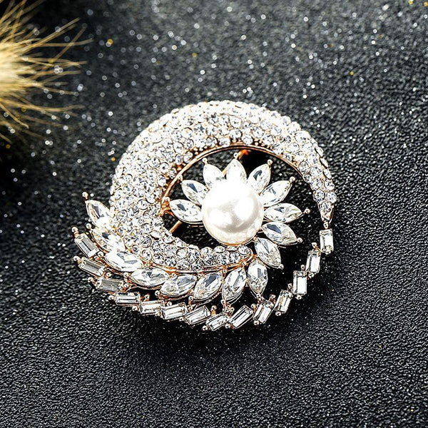 Exquisite Crystal Flower Pattern Pearl Decor Women Brooch