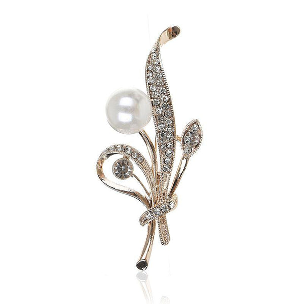Hot Sale Women Exquisite Rhinestone Imitation Pearl Decor Alloy Brooch