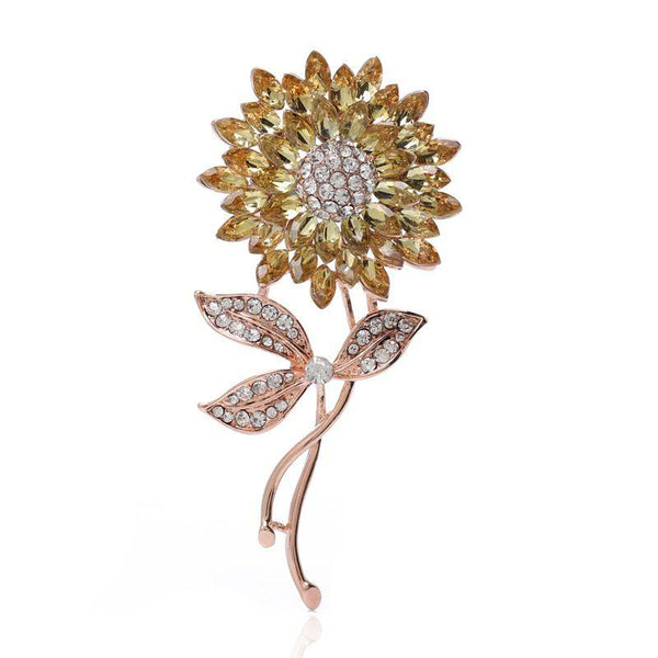 Hot Sale Fashion Sunflower Pattern Colored Rhinestone Exquisite Brooch