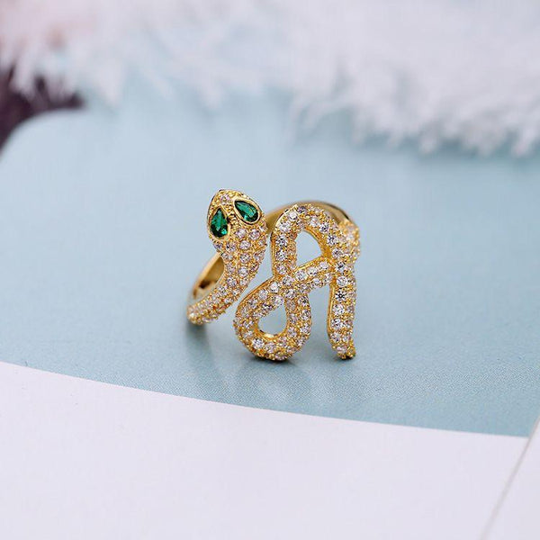 Hot Sale Fashion Women Snake Pattern Colored Gemstone Zircon Ring