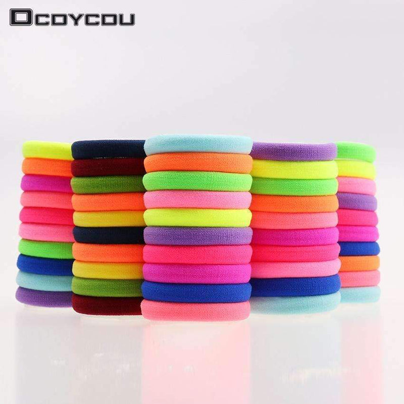 20pcs/lot Candy Fluorescence Colored Hair Holders High Quality Rubber Bands Hair Elastics Accessories Girl Women Tie Gum-Black-JadeMoghul Inc.