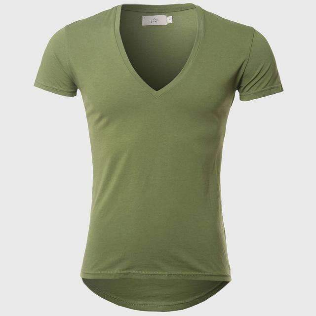 21 Colors Deep V Neck T-Shirt Men Fashion Compression Short Sleeve T Shirt Male Muscle Fitness Tight Summer Top Tees-Green-XS-JadeMoghul Inc.