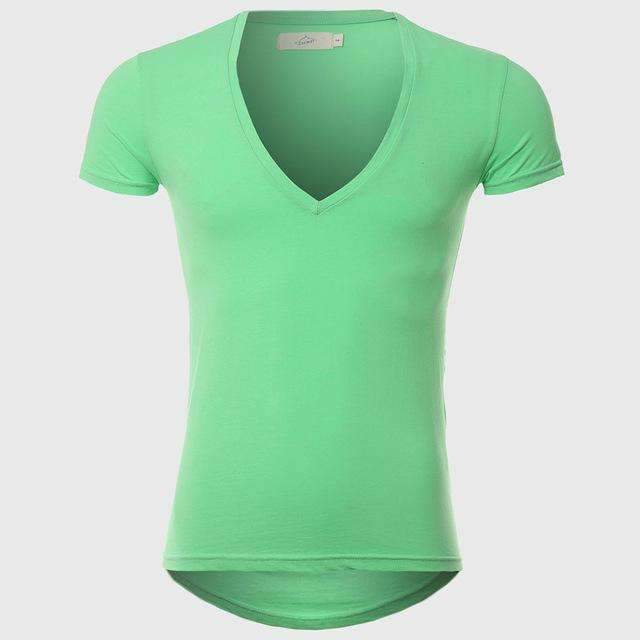 21 Colors Deep V Neck T-Shirt Men Fashion Compression Short Sleeve T Shirt Male Muscle Fitness Tight Summer Top Tees-Light Green-XS-JadeMoghul Inc.