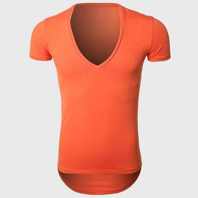 21 Colors Deep V Neck T-Shirt Men Fashion Compression Short Sleeve T Shirt Male Muscle Fitness Tight Summer Top Tees-Orange-XS-JadeMoghul Inc.