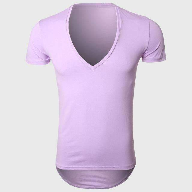 21 Colors Deep V Neck T-Shirt Men Fashion Compression Short Sleeve T Shirt Male Muscle Fitness Tight Summer Top Tees-Purple-XS-JadeMoghul Inc.