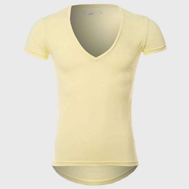 21 Colors Deep V Neck T-Shirt Men Fashion Compression Short Sleeve T Shirt Male Muscle Fitness Tight Summer Top Tees-Yellow-XS-JadeMoghul Inc.