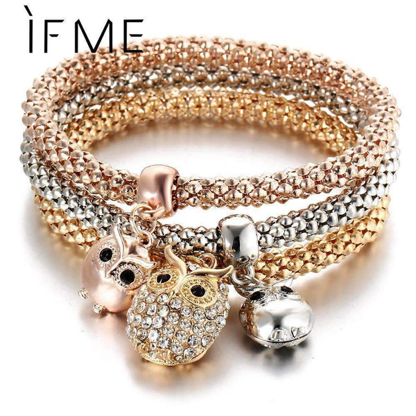 3 Pcs/Set Crystal Owl Crown Charm Bracelets&Bangles 3 Color Rose Gold Color Elephant Anchor Pendants Rhinestone Bracelet Women-BJDY237-JadeMoghul Inc.