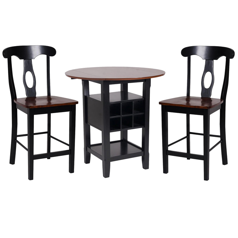 3 Piece CoUnter Height Dining Room Set, Black & Oak Brown-Bar Tables-Black & Brown-Wood & Leatherette-JadeMoghul Inc.
