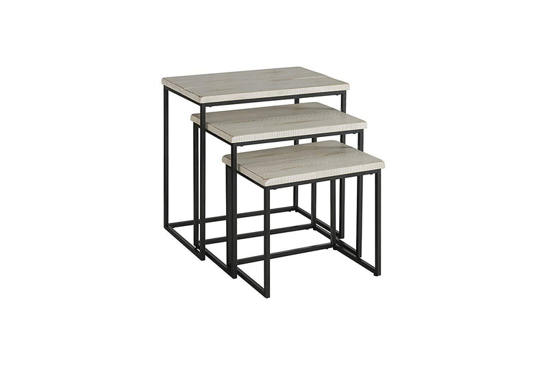 3 Piece Pine wood and Metal Nesting Table, Antique White-Tables-White-Metal Pine-JadeMoghul Inc.