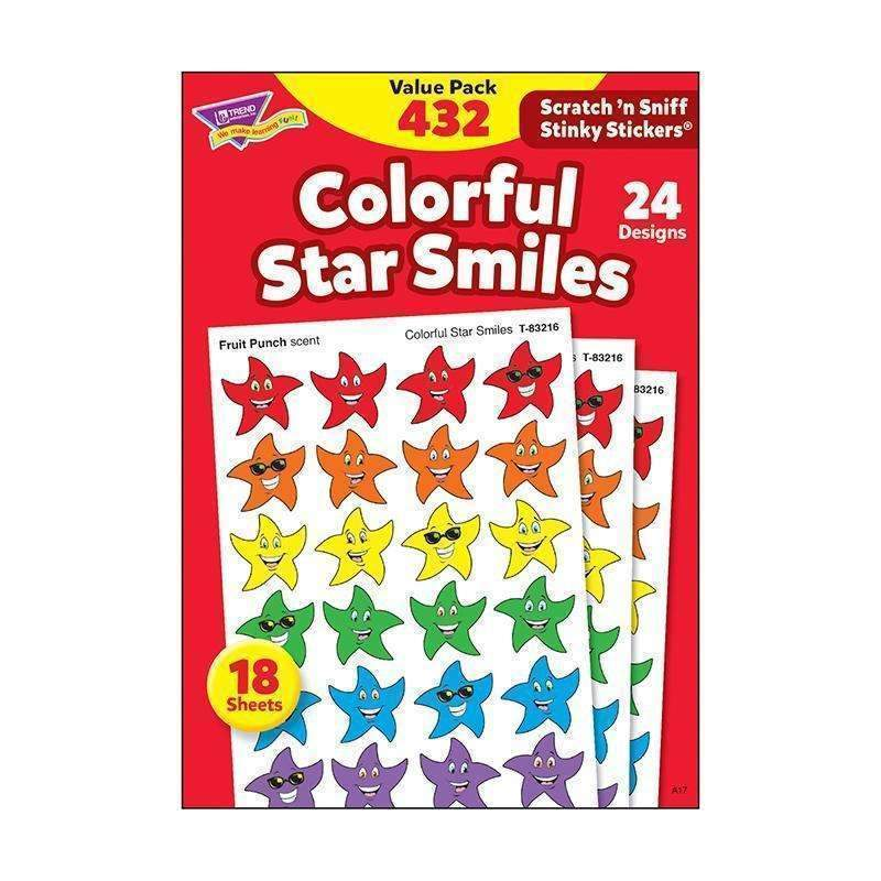(3 PK) STINKY STICKERS SMILEY STARS-Learning Materials-JadeMoghul Inc.