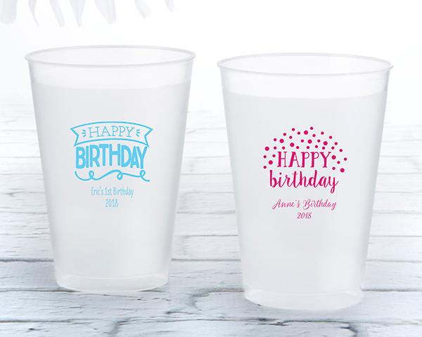 36-Personalized 12 oz. Frosted Flex Cup - Happy Birthday-Wedding Reception Decorations-JadeMoghul Inc.