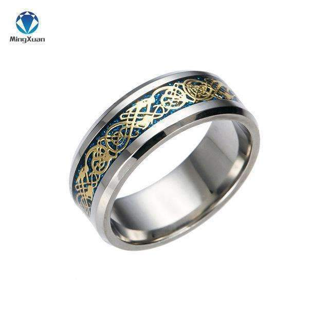 4 COLORS Vintage Gold Free Shipping Dragon 316L stainless steel Ring Mens Jewelry for Men lord Wedding Band male ring for lovers-5-Blue-JadeMoghul Inc.