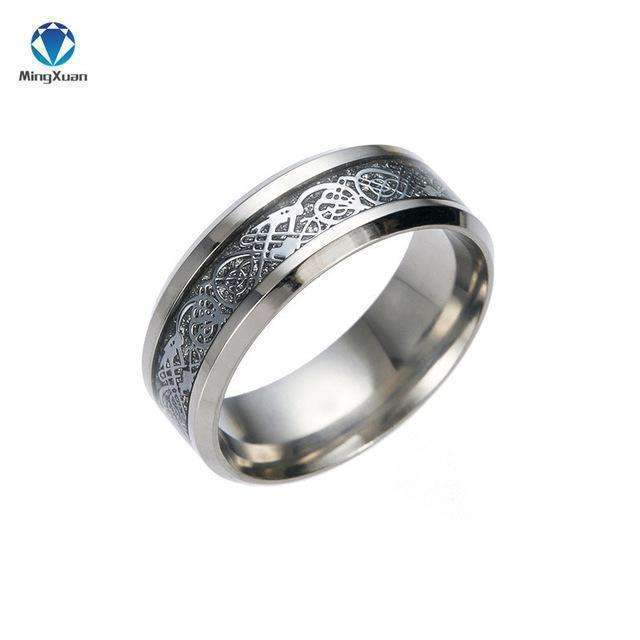 4 COLORS Vintage Gold Free Shipping Dragon 316L stainless steel Ring Mens Jewelry for Men lord Wedding Band male ring for lovers-5-Silver-JadeMoghul Inc.