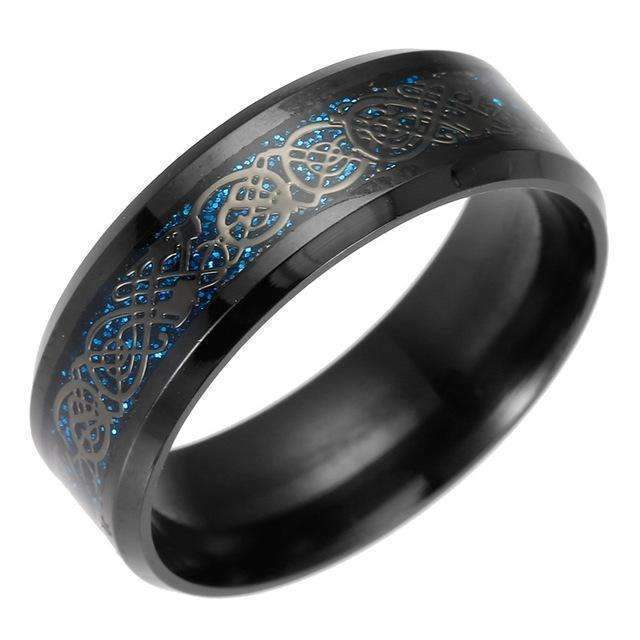 4 COLORS Vintage Gold Free Shipping Dragon 316L stainless steel Ring Mens Jewelry for Men lord Wedding Band male ring for lovers-8-BlackBlue-JadeMoghul Inc.