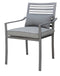 4 Piece Patio Arm Chair In Aluminum Frame With Padded Fabric Seat, Gray-Patio Furniture-Gray-Aluminum Frame & Fabric-JadeMoghul Inc.