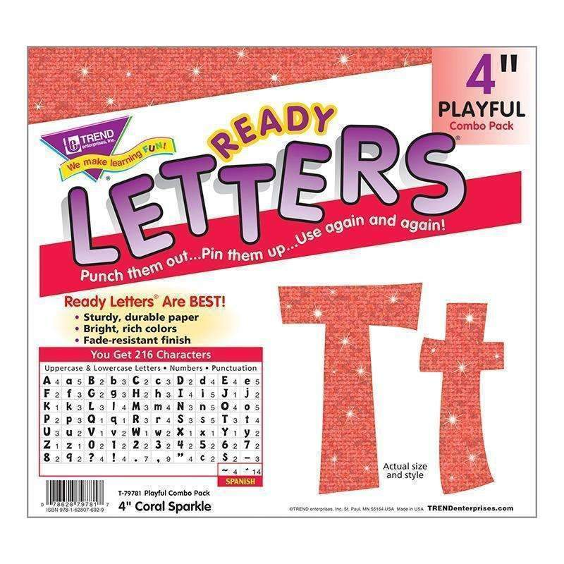 4IN READY LETTERS CORAL SPARKLE-Learning Materials-JadeMoghul Inc.
